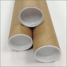 Three kraft mailing tubes with white  plastic plugs