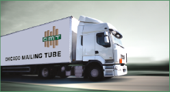 Chicago Mailing Tube semi-truck transporting tubes and cores