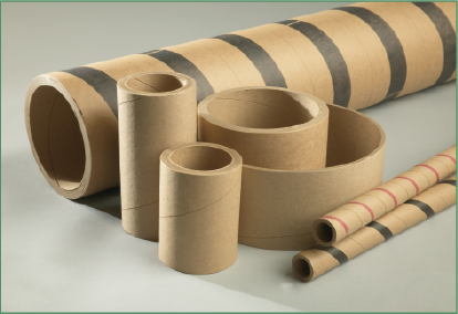 Group of kraft cores with varying heights, circumferences and thicknesses