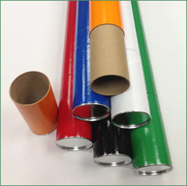 Group of telescopic mailing tubes in different colors with metal plugs