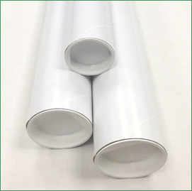 Three white mailing tubes with white plastic plugs